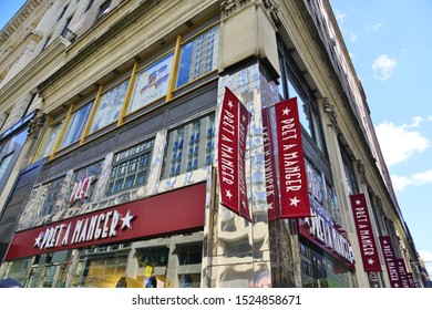 NEW YORK CITY, NY -4 OCT 2019- View of a Pret-a-Manger sandwich and food shop on Fifth Avenue in New York, USA. Pret a Manger is a British food chain.