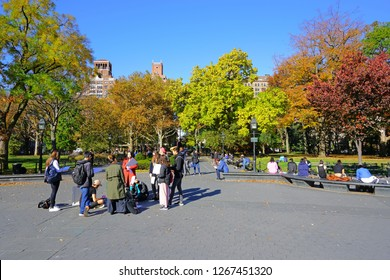 NEW YORK CITY, NY -9 NOV 2018- Campus tour of potential students and families on the campus of New York University (NYU) in Washington Square, Greenwich Village, Lower Manhattan, New York City.