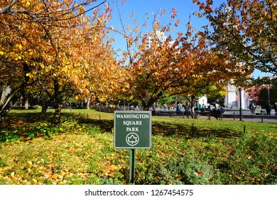 NEW YORK CITY, NY -9 NOV 2018- Autumn view of the Washington Square Park with foliage, located in the Greenwich Village neighborhood of Lower Manhattan near the campus of New York University (NYU).