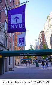 NEW YORK CITY, NY -9 NOV 2018- View of the campus of New York University (NYU) in Lower Manhattan near Washington Square.