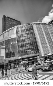 NEW YORK CITY, NY - APRIL 23, 2013: Madison Square Garden is an indoor arena that sits above Penn Station. It is home to the NY Knicks (NBA), NY Rangers (NHL) and NY Liberty (WNBA)