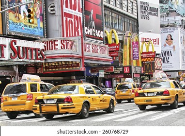NEW YORK CITY, NY - APRIL 18, 2010: Times Square, famous tourist attraction featured with Broadway Theaters and famous restaurant and store locations in New York City