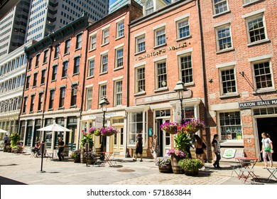 NEW YORK CITY, NY - August 25 2016: vintage buildings from seaport district at New York city