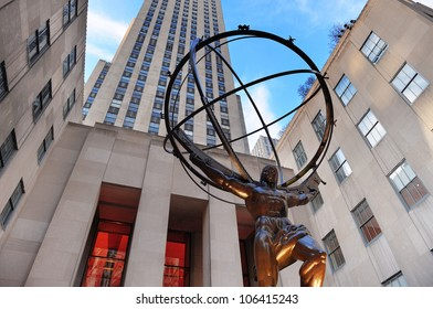 NEW YORK CITY, NY - DEC 30: Rockefeller Center on Fifth Avenue on December 30, 2011 in New York City. Fifth Avenue has the world's most expensive retail spaces as the symbol of wealthy New York.