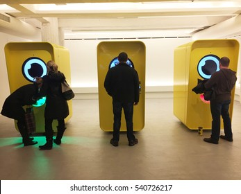 NEW YORK CITY, NY- December 21, 2016: Snapchat's Snap Inc. Fifth Avenue pop-up store sells Spectacles at Bot vending. Marketing genius, buzz excitement, television disruption, technology, cool, trendy