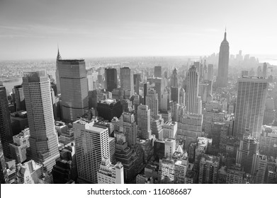 NEW YORK CITY, NY - JAN 17: Empire State Building and crowded skyscrapers on January 17, 2012 in New York City. New York is the most populous city with populuation of 8.2M in the United States