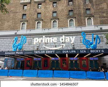New York City, NY - July 10,  2019. The Manhattan Center Marquis announgint the Taylor Swift concert with Dua Lipa, SZA and Becky G as part of hte Prime Day conert presented by Amazon.