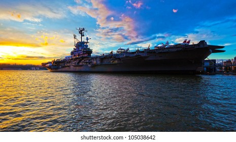 NEW YORK CITY, NY - June 3: USS Intrepid is one of 24 Essex-class aircraft carriers built during World War II for the United States Navy, June 3rd, 2012 in New York City, USA.