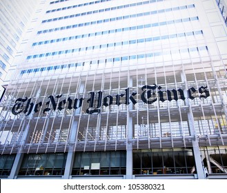 NEW YORK CITY, NY - JUNE 3: Famous newspaper, The New York Times Building on June 3rd, 2012, New York, NY.
