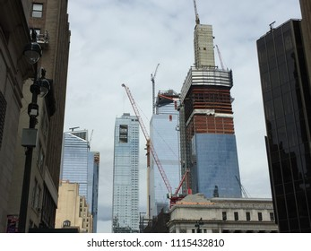 NEW YORK CITY, NY - JUNE 3, 2018- View of the Hudson Yards building development seen from midtown Manhattan.