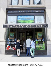 New York City, NY - June 28, 2014: Famous grocery and restaurant called Eataly in lower Manhattan where people can purchase and eat the finest Italian food products.