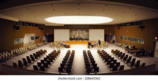 NEW YORK CITY, NY - MAR 30: The Security Council Chamber is located in the United Nations Conference Building and is designed by Arnstein Arneberg. March 30, 2011 in Manhattan, New York City.