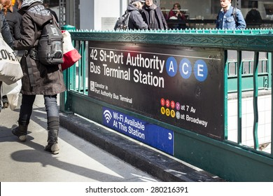 NEW YORK CITY, NY - MARCH 14, 2014:  Street view of NYC subway station entrance at 42nd Street Port Authority