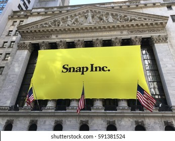 NEW YORK CITY, NY- March 2, 2017: Snapchat's Snap Inc. makes IPO debut on the New York Stock Exchange NYSE. Investors flocked to initial public offering, pushing valuation of nearly $24 billion.