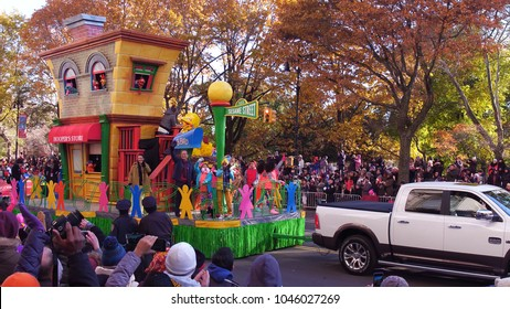 NEW YORK CITY, NY - NOVEMBER 23: Sesame Street float going down city streets during Macy's Thanksgiving Day Parade on November 23, 2018, in New York City, New York.