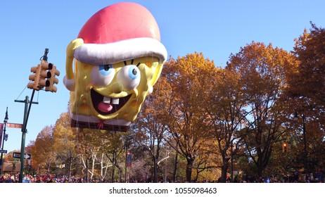 NEW YORK CITY, NY - NOVEMBER 23: Spongebob Squarepants Balloon in 91st Macy's Thanksgiving Day Parade on November 23, 2017, in New York City, New York.