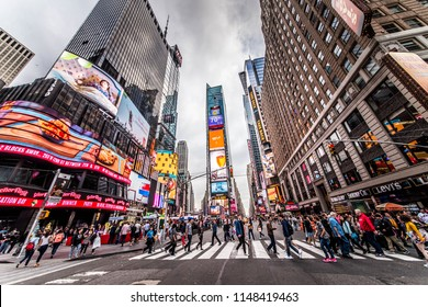 NEW YORK CITY, NY - NOVEMBER 25, 2015: Times Square is featured with Broadway Theaters and LED signs as a symbol of New York City and the United States, September 5, 2009 in Manhattan, New York City.