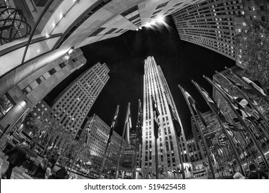 NEW YORK CITY, NY - NOVEMBER 5: Rockefeller Center on Fifth Avenue at night on November 5, 2015 in New York City. Fifth Avenue has the world's most expensive retail spaces as the symbol of New York