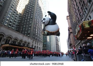 NEW YORK CITY, NY - NOVEMBER 24: Kung Fu Panda balloon floats in the Macy's 85th Annual Thanksgiving Day Parade on November 24, 2011 in New York City, New York.