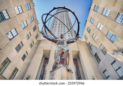 NEW YORK CITY, NY - OCT 30: Atlas statue and Rockefeller Center on October 30, 2014 in New York City. Rockefeller Center is a complex of 19 commercial buildings located in Midtown Manhattan.
