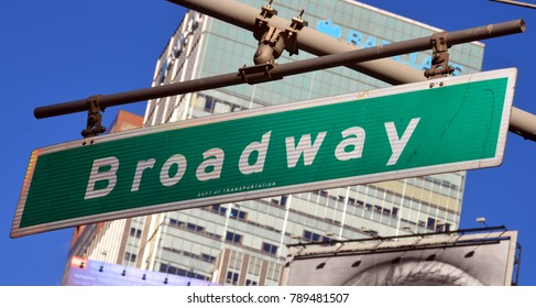 NEW YORK CITY, NY  OCT 29 13 : Broadway is a road in the U.S. state of New York. Broadway runs from State Street at Bowling Green
