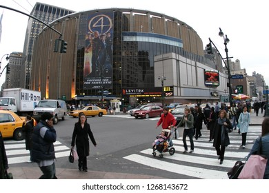 NEW YORK CITY, NY October 21,2005: Madison Square Garden is an indoor arena that sits above Penn Station. It is home to the NY Knicks (NBA), NY Rangers (NHL) and NY Liberty (WNBA)