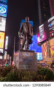 New York City, NY September 11 2018: George M. Cohan monument on Times Square