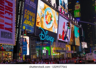 New York City, NY September 11 2018: Stores on Times Square at night