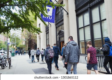 New York City, NY state, USA 11 01 2017 Back to school.Group of students going to class at NYU