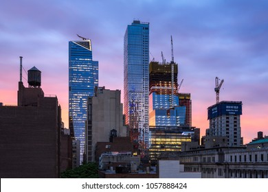 New York City, NY, USA - June 8, 2017: The Hudson Yards construction site with 30 Hudson Yards under construction, the completed 10 Hudson Yards and Eugene skyscrapers at sunset.  Midtown, Manhattan