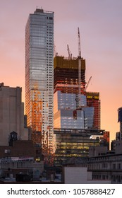 New York City, NY, USA - June 8, 2017: The Hudson Yards construction site with 30 Hudson Yards under construction and the completed Eugene skyscraper at sunset.  Midtown, Manhattan