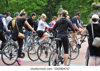 New York City, NY/ USA May 23rd, 2017- Bikers get set for a morning ride on a summer morning in Central Park.