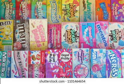 New York City, NY/ USA- 4-22-2018: Popular Vintage Candy Boxes in Store Assortment of 80s treats such as Junior Mints Sour Patch NERDS Skittles Lemonhead Mentos Airheads