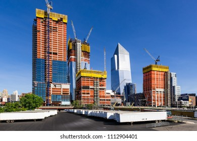 New York City, NY, USA - May 21, 2017: The Hudson Yards construction site. Already finished is the 10 Hudson Yards (South Tower) skyscraper. Midtown, Manhattan