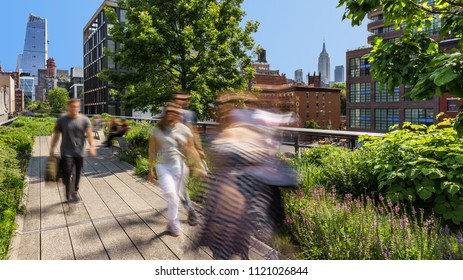 New York City, NY, USA - May 25, 2016: The High Line in Summer morning light located in the heart of Chelsea with a view of the Empire State Building and Hudson Yards skyscrapers. Manhattan