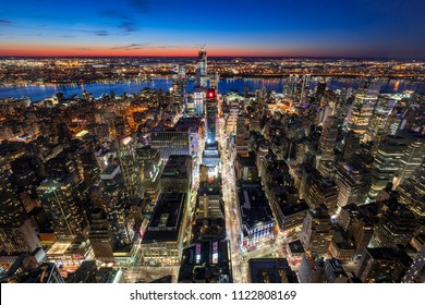 New York City, NY, USA - Mach 11 11, 2018: Aerial view of Midtown West Manhattan with new Hudson Yards skyscrapers under contruction at twilight. Manhattan, New York