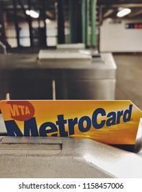 New York City, NY/ USA: 8-17-18- Metro Card Swiping Turnstile Machine New York City Subway Metrocard Paying Fare MTA Transit System