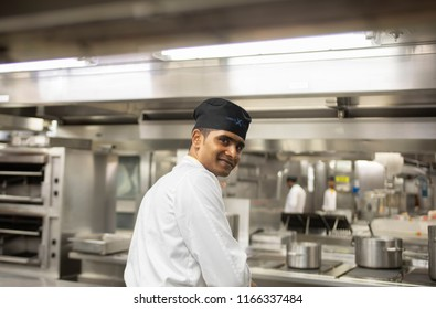New York City, NY USA - June 5, 2017: Cruise Ship Kitchen Staff Preparing Food on June 5, 2017 New York City, NY USA