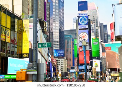 NEW YORK CITY, NY, USA - SEPTEMBER 15, 2018: Times Square with neon and animated LED billboard advertisements and commerce.