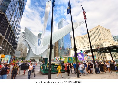 NEW YORK CITY, NY, USA - SEPTEMBER 15, 2018: Hub transportation at Ground Zero with view of One World Trade Center in Lower Manhattan