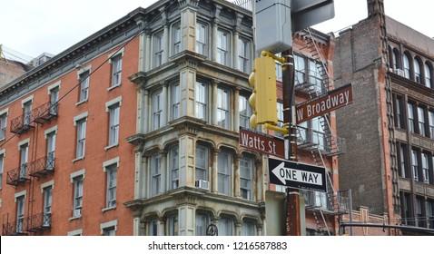 New York City, NY/ USA- 10-28-18: Broadway NYC Street Sign Trendy Shopping Hip Urban Neighborhood