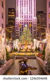 NEW YORK CITY, NY, USA - DECEMBER 24, 2017: Christmas tree at Rockefeller Center in Manhattan, New York City on December 24, 2017.