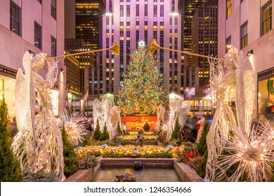 NEW YORK CITY, NY, USA - DECEMBER 24, 2017: Christmas tree at Rockefeller Center in Manhattan, New York City on December 24, 2017.