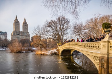 NEW YORK CITY, NY, USA - FEBRUARY 11, 2017: Snow in Central Park in Manhattan, New York City on February 11, 2017.