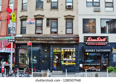 New York City, NY/ USA- 1-09-2019: NYC Canal Street and East Broadway Gentrification in Chinatown neighborhood New Stores