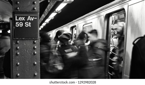 New York City, NY/ USA- 1-18-2019: New York City People Commute to Work Subway Sign Rush Hour