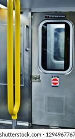 New York City, NY/ USA- 1-23-2019: New York City Subway Car Interior Design MTA Commuter Train