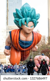 New York City, NY, USA - November 22, 2018:  Dragon Ball's Goku flies into the Macy's Thanksgiving Day Parade for the first time ever