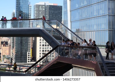New York City, NY, USA - MAY  22, 2019: The Vessel, Hudson Yards Staircase (designed by architect Thomas Heatherwick). Midtown Manhattan West. Hudson Yards is lagest private development