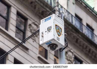 New York City, NY, USA - May 17, 2019: NYPD security surveillance camera an a street in USA